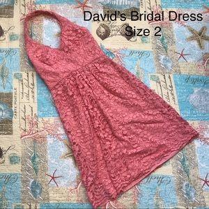 David's Bridal Pink/Coral Halter Top Dress Size 2